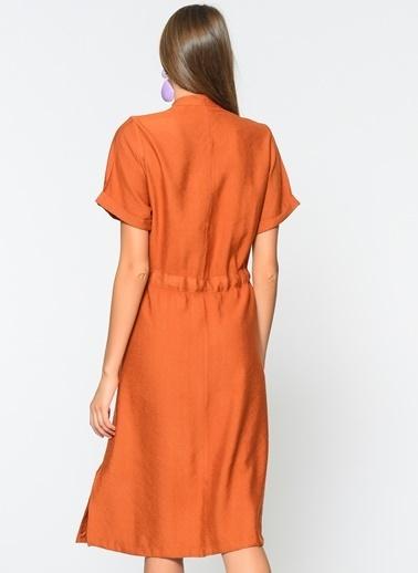 Loves You %100 Keten Kısa Kol Elbise Oranj